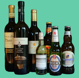 Bottles of wines and beer