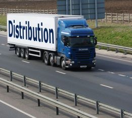 A distribution truck